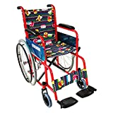 Silla de ruedas para niños, Plegable, Ruedas grandes, Reposapiés, Rojo con tapicería estampada, Teatro, Mobiclinic