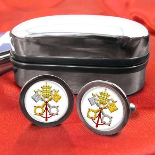 Vatican City (white) Mens Cufflinks with Chrome Gift Box