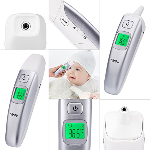 SANPU Termómetro Infrarrojo Digital Médico para Frente y Oreja para Bebés Niños y Adultos con fiebre indicador CE y FDA aprobado