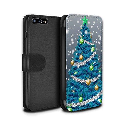 Stuff4 Coque/Etui/Housse Cuir PU Case/Cover pour Apple iPhone 7 Plus / Gris Design / Sapin/Arbre de Noël Collection Bleu
