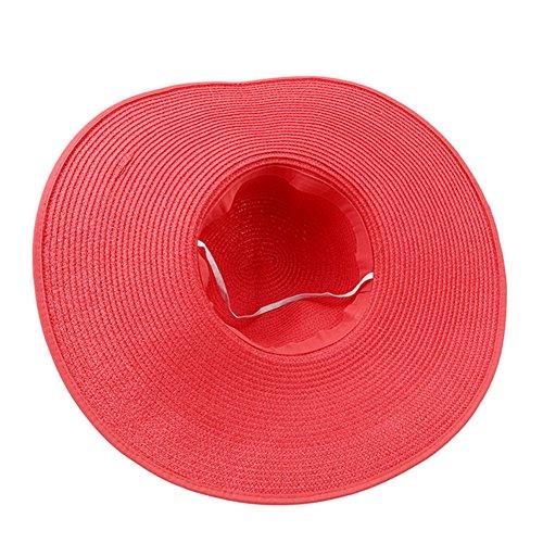 ODN Chapeau de Paille Femme de Nœud Papillon pliable chapeau Large Bord Plage, Chapeau de Plage idéal pour Vacances pastèque