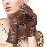 Nappaglo Damen klassische Lederhandschuhe Touchscreen Italienisches Lammfell Winter Warm Reines Kaschmir-Futter Handschuhe (M (Umfang der Handfläche:17.8-19.0cm), Dunkelbraun(Touchscreen))