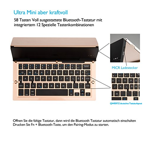 Faltbar Bluetooth Tastatur, iEGrow F18 Universal Tragbar Bluetooth 3.0 Kabellose Tastatur mit Ständerhalter für Apple iPad iPhone 7 Plus IOS, Andriod Windows Smartphone Tabletten Gold [QWERTZ deutsches Tastaturlayout] - 3