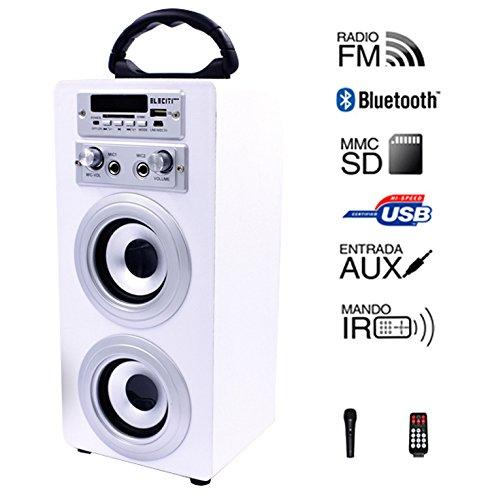 Altavoz Portátil Karaoke con Bluetooth USB SD Micrófono Radio