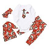 Zarupeng Neugeborenes Baby Mädchen Body Santa Schneemann Gedruckt Strampler Overall + Hosen + Hut + Stirnband Kinder Weihnachten Outfits Set