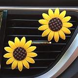 ZKO Auto Lufterfrischer Sunflower Air Vent Clips, Autozubehör, Sonnenblumen Geschenk Dekorationen Car Clip Innenraum Air Vent Dekorationen (2 Pack) (2A)