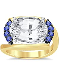 Silvernshine 4Ct Oval & Round Cut Sim Tanzanite Diamonds 18K Yellow Gold Plated Engagement Ring