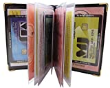 Exclusives Ausweisetui / Ausweishülle / Kreditkartenetui mit Schutzecken aus Metall 12 Fächer MJ-Design-Germany Made in EU in verschiedenen Farben und Designs (Design 1 / Schwarz)