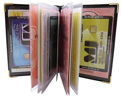 Porta carte d'identità e carte di credito con 12 scomparti MJ-Design-Germany Made in UE in diversi colori e designs (Design 1 / Nero) Design 1 / Nero