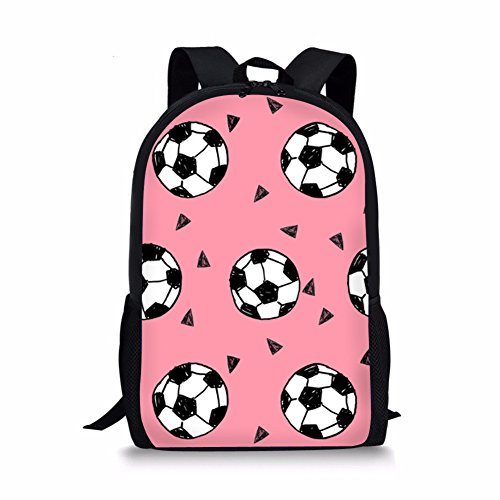 Amzbeauty Football School Backpack for Girls 17 inch Large Shoulder Book Bag