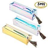 Bleistift Fall, 3Stück süße Kunststoff Bleistift Cases Tasche Organizer mit Reißverschluss, großes Fassungsvermögen Colorful Laser für Kinder Jungen Mädchen Erwachsene, Büro Schule Stationery