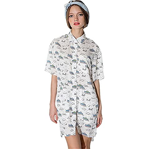 Boyfriend Stile Cartoon Boat Cloud Collare Tasche Sul Davanti Shirt