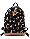 "Douguyan Donna Zaino Tela Colorato Borse Scuola Ragazze Cotone Studenti Canvas Student School bag Girls Borsa Libro Portatile per PC 14"" Computer Backpack Travel Daypack Viaggio Piccolo Fiore 133 Nero"