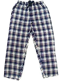 Champa Men's Navy Blue & Red Checked Cotton Pyjama Sleepwear Night Wear