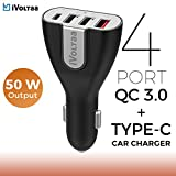 #9: iVoltaa 3.0 & USB Type-C 50W 4-Port USB Car Charger for Galaxy S8/S7/S6/Edge/Plus,Note 5/4,iPhone 7/6s/+, iPad Pro/Air 2/mini,LG,Nexus,HTC,Xiaomi,1+