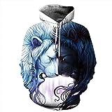 MiaoFan Löwe mit Kapuze Sweatshirt 3D gedrucktes Sweatshirt Langarm Hoodie Taschen Top