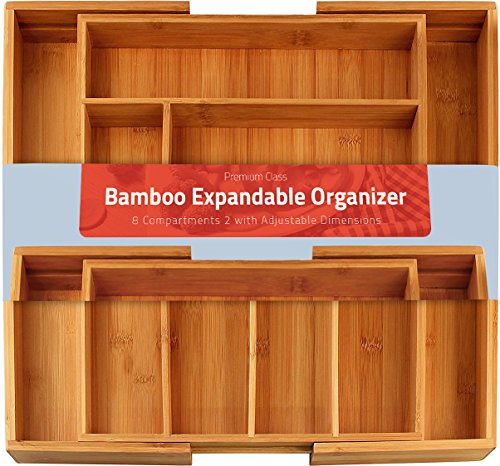 Bamboo Expandable Utility-Drawer Utensil Organizer - 8 Compartments (2 with Adjustable Dimensions) by Utopia Kitchen by Utopia Kitchen (Expandable Utensil Organizer)