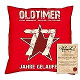 Sofakissen mit Füllung Geschenk für Frauen zum 77 Geburtstag Motiv Oldtimer 77 Geburtstagsgeschenk + Urkunde Farbe:rot