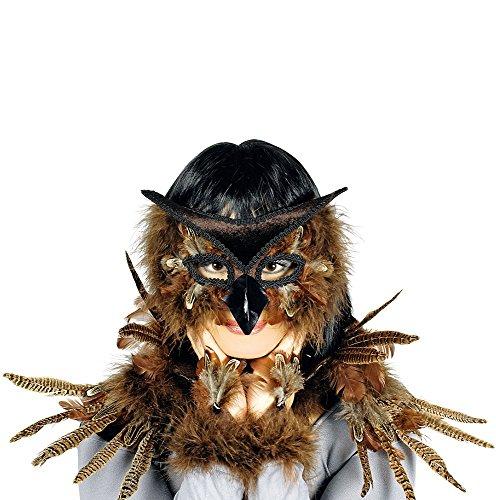 Hochwertiges Kostüm Set Eule für Erwachsene - Maske, Kragen und Handschmuck (Eule Kostüm Erwachsene)