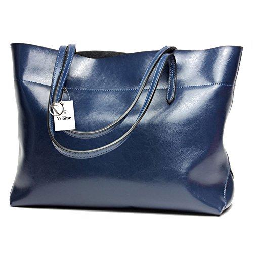 Yoome Borsa da donna vintage in vera pelle di tote borse a tracolla morbida borsa a tracolla messenger borsa hobo - blu Blu