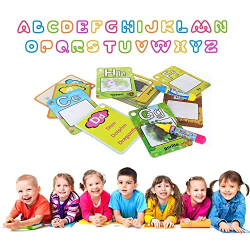 Water Painting Graffiti Book Card 26pcs Chidren's Early Education Cognitive Cards 1-9 Number Colors Shapes Colouring Doodle Board with Pens for Toddlers Kids Baby (Letter)