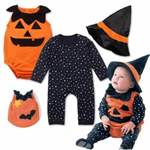 Halloween 3 Mädchen Ideen Kostüme (HKFV Halloween Kostüme Baby Kürbis Stück Anzug + Hut 3 Sets Striped Kürbis Spielanzug Halloween Outfits Kostüm Lange Ärmel (90,)