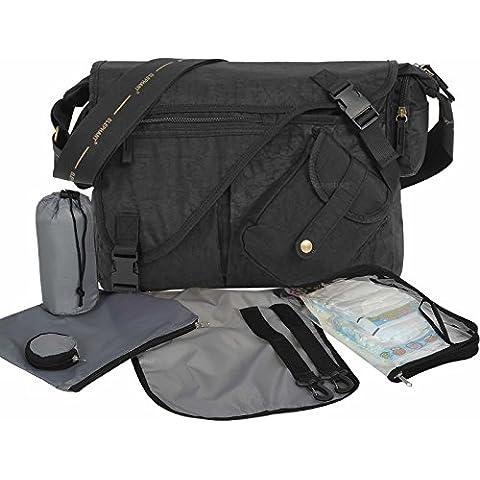 Bebé bolso cambiador Elephant Bandolera Incluye cambiador, Buggy Fijación mosquetón, bolsa para pañales, ISO Botella térmica funda, Chupete funda–color negro