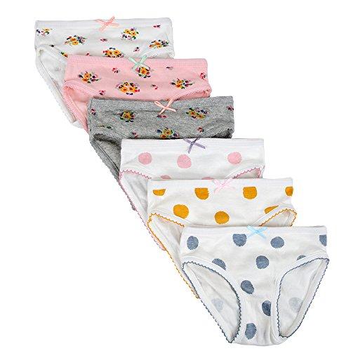 Kidear Weiche Unterwäsche-Serien aus Baumwolle Sortierte Höschen mit Bow-Knoten für kleine Mädchen (Stil2, 4-5 Jahre) - Kleinkind 2t Unterwäsche Mädchen
