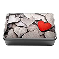 Duke Gifts Wooden hearts pattern love romantic Metal Storage Tin Box 108