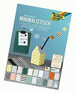 Folia 48849 - Bloc de Dibujo Minimalista, 270 g/m², Aprox. 24 x 34 cm, Hojas Surtidas en 20 diseños Diferentes