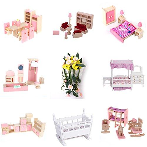 puppenhaus badezimmer set in rosa puppenhaus holz. Black Bedroom Furniture Sets. Home Design Ideas