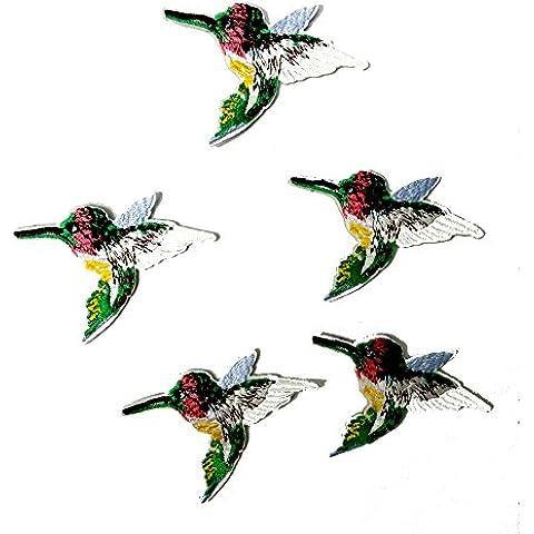5 Piezas coloridas de los pájaros del bordado de las PC que casan el remiendo hecho a mano del Applique de la tela de DIY 7 * 5