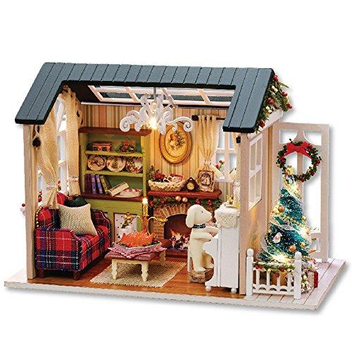 MMLsure® Puppenhaus Haus DIY House mit LED Licht,Weihnachtsgeschenk,Puppenhaus Bausatz Holz Modell Set Möbliert Zimmer für Mädchen zum Spielen Miniatur Kreativ Geburtstag Weihnachts Geschenk (C)