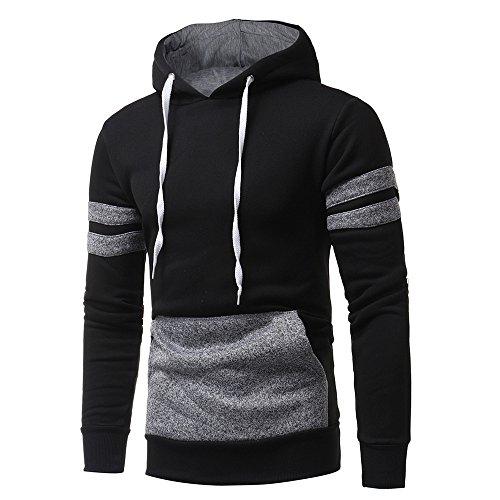 Honestyi Herren Kapuzenpullover, Herren Langarm Hoodies Sweatshirt Tops Jacke Mantel Abnutzung Kapuzenpullover(Schwarz,3XL)