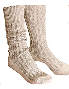Trachtensocken Kniebundstrümpfe Socken Zopfmuster beige-braun Strümpfe 41-47