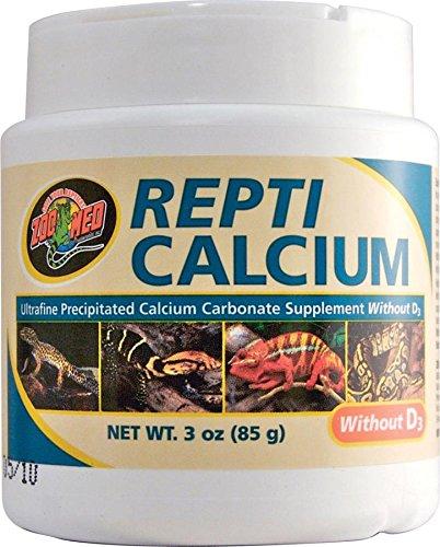 Zoo Med A33-3E Repti Calcium ohne D3, 85 g, Nahrungsergänzungsmittel für Reptilien und Amphibien - phosphorfrei!
