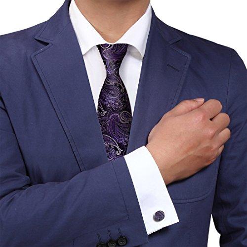 Y&G Herren Krawatte Violett YABB0044-morado oscuro Corbata+Gemelos
