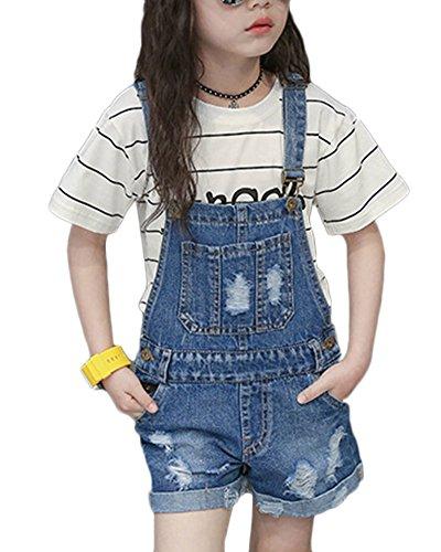Denim salopette pantaloncini tuta corta pagliaccetto jumpsuit ragazza jeans tuta completo blu 150