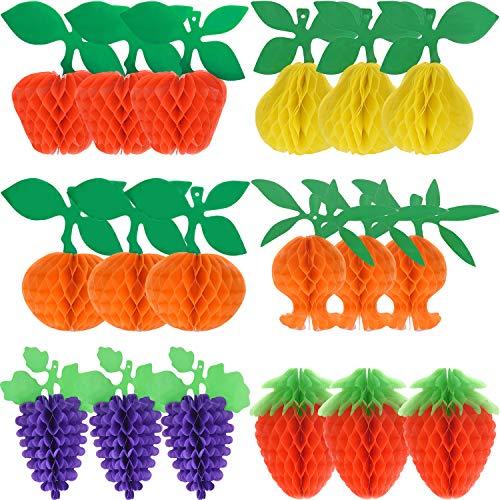 uchttissue Waben Seidenpapier Obst Dekorationen - Apfel/ Birne/ Traube / Erdbeere/ Granatapfel/ Orange mit Hängeseil für Tropische Hawaiianische Luau Dekorationen ()