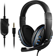 3.5mm Wired Gaming Headphones Over Ear Game Headset Noise Canceling Earphone with Microphone Volume Control for PC Laptop PS