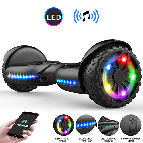 COLORWAY Hoverboard Flash-Rad Balance Elektro Scooter Roller EU Sicherheitsstandard, mit Bluetooth Lautsprecher und LED-Lichter (Q3 schwarz)