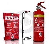 FSS UK PREMIUM 2 LITRE WET CHEMICAL FIRE EXTINGUISHER(BSi) WITH FIRE BLANKET(CE). IDEAL FOR COMMERCIAL KITCHEN, RESTAURANTS PUBS BARS COOKING FIRES 2 L LTR WET CHEM