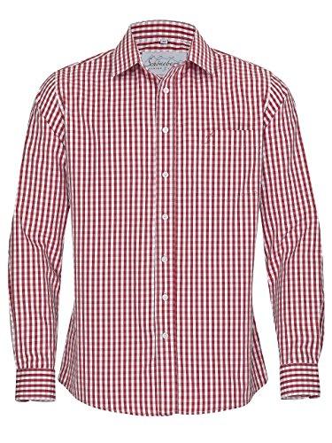 Trachtenhemd Slim fit kariert - Hemd Oktoberfest & Freizeit Karo rot oder blau (M, Rot/Weiss)