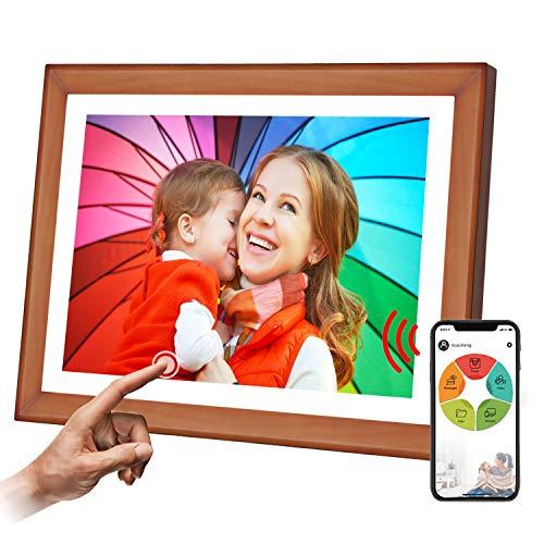 """WiFi Digitaler Bilderrahmen, SSA 10.1\"""" Touchscreen 1280 * 800 Eingebauter 16 GB Speicher Hoch- und Querformat Sofortiges Teilen von Fotos und Videos Holz"""