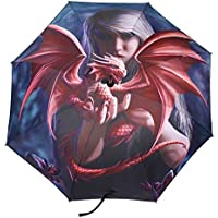 Something Different Algo diferente Anne Stokes Dragon kin paraguas, rojo/negro