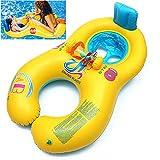 Siège de bébé mère bébé, anneau de natation pour tout-petit avec chaise souple de sécurité, flotteur flottant gonflable Piscine double avec protection solaire pour bébé de 6 mois à 2 ans