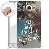 Finoo Samsung Galaxy J5 2016 Weiche flexible Silikon-Handy-Hülle | Transparente TPU Cover Schale mit Motiv | Tasche Case Etui mit Ultra Slim Rundum-schutz | Life is better in Flipflops