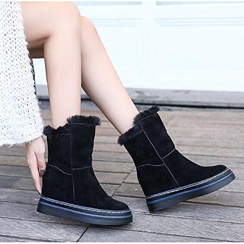 HSXZ Scarpe da donna in pelle Nubuck Winter Snow Boots stivali punta tonda Mid-Calf scarponi per Casual nero kaki Khaki