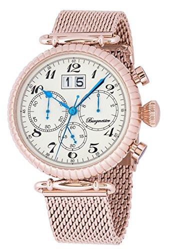 Burgmeister Armbanduhr für Herren mit Analog-Anzeige, Chronograph mit Edelstahl Armband - Wasserdichte Herrenarmbanduhr mit zeitlosem, schickem Design - Klassische Uhr für Männer - BMP02-318 Paris