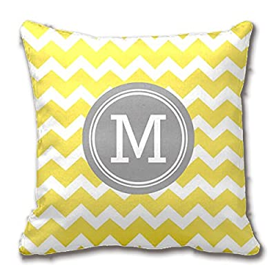 """Double-sided Print Yellow Grey Wave Decorative Throw Pillow Case Striped Monogram Cushion Cover Cotton Polyester Fabric 18""""x18""""Inch - cheap UK light shop."""
